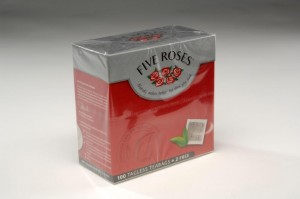 overwrapped five roses tea carton